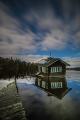 drunken sauna night (sami kuosmanen) Tags: suomi sky finland forest fun reflection luonto light landscape long lake lightpainting europe exposure expression eerie metsä maisema sauna liike pitkä puu photography valo valotus vesi water järvi colorful clouds creative pilvi laituri pier abandoned cabin