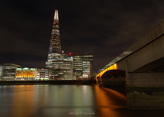 The Shard from London Bridge (Dave Sexton) Tags: london england united kingdom uk the shard bridge night illuminated modern architecture steel city tower pentax k1 24mm f28 dxo on1 affinityphoto