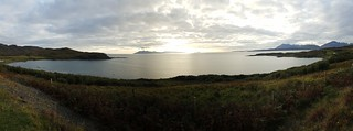 Sun beginning to set over the Small Isles
