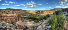 Sharon from the Ghost Ranch painting class and I at the Rio Chama in Abiquiu (JoelDeluxe) Tags: rio chama river valley abiquiu october 2017 fall colors sharon painting ghost ranch class hdr panorama landscape nm newmexico joeldeluxe tree sky mesa rock bend riverbend