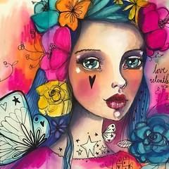 • love relentlessly • #inkart #sheblooms #portrait #flowergirl #willowing #willowingarts