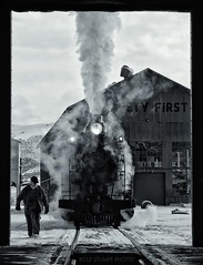 Steam locomotive on a winter's morning (rolfstumpf) Tags: usa nevada nevadanorthern ely steam locomotive winter snow ice cold worker shed enginehouse railway railroad olympus e520 monochrome blackwhite railroaders