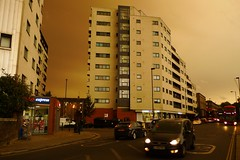 Caledonian Road Under an Orange Sky (cycle.nut66) Tags: caledonian road flats cars traffic orange sky hurricane ophelia moody storm panasonic lumix lx3 leica summicron