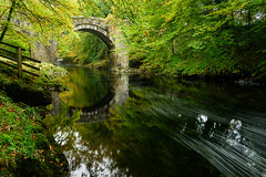 After The Storm. (b.pedlar) Tags: christmascake alcohol brandy abuse nonsense holnebridge dartmoor afterstorm nationalpark leaves bridge grade2listed autumn reflections serene devon horizontal sampling offlicence