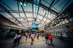 Ueno (hidesax) Tags: ueno station concourse ceiling roof lights passengers art wall taitoku tokyo japan hidesax sony a7ii voigtlander 10mm f56