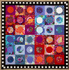 Circles in Squares (Lisa-S) Tags: 7777 kaffefassett circleinasquare quilts quilting patchwork red blue