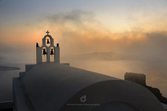 Three Bells of Fira (fesign) Tags: architecturalfeature backlit bell christianity church clouds cross cycladesislands europe famousplace firá greece greekculture island mist nopeople outdoors placeofworship religion santorini sea silhouette sky spirituality sunset three travel