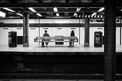 Balance (hector_cbs) Tags: subway balance blackandwhite people monochrome balanced metro mta newyork newyorkcity nyc america usa monochromatic
