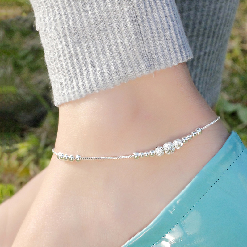 999 Sterling Silver anklet bells transport bead female student Korean Korean minimalist Mori bestie Sen retro female personality