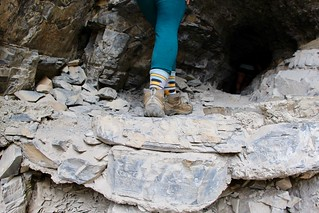 Hiking shoes on Crypt cave/tunnel