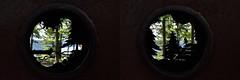Looking Through Large Metal Binoculars (Rackelh) Tags: nature metal sculpture silhouettedorset ontario canada travel