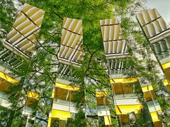 Chiswick business park (Mikey_D_M) Tags: mirrors reflection architecturalreflection hiddengem lookup westlondon yellow green trees