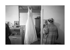 Bride in the mirror (Jan Dobrovsky) Tags: biogon21mm gypsies krásnálípa leicam10 northernbohemia roma document people reallife social wedding monochrome blackandwhite indoor grain mood room mirror