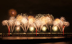 Fireworks on the new Mersey Gateway bridge (Colin__Murray) Tags: runcorn mersey gateway bridge fireworks lights night dark england uk river water display opening colour color