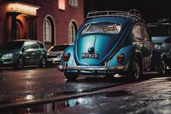 Luftsick (Jani M) Tags: beetle blue bug night puddle rain street urban volkswagen vw wet