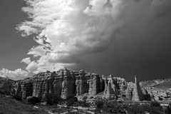 "Plaza Blanca or ""White Place.""  Abiquiu, Rio Arriba Co., New Mexico, USA. (cbrozek21) Tags: plazablanca whiteplace abiquiu newmexico rocks white geology landscape monochrome blackandwhite pentaxart clouds storm 7dwf"