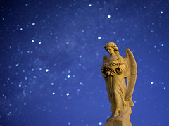 Lost in her own thoughts (ajecaldwell11) Tags: night ankh astrophotography stars headstone cemetery light sculpture southerncross hawkesbay newzealand stoneangel sky statue pakipaki caldwell grave angel