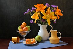 Vivid Image (Esther Spektor - Thanks for 12+millions views..) Tags: stilllife naturemorte bodegon naturezamorta stilleben naturamorta composition creativephotography artisticphoto arrangement tabletop bouquet lily food fruit apple apricot pitcher cup stand plate placemat ceramics glass vivid availablelight white yellow green orange blue purple brown black estherspektor canon