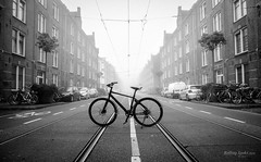 Marnixstraat (Rolling Spoke) Tags: marnixstraat bike bicycle bici bicicleta bicicletta bisiklet fiets fahrrad velo cannondale badboyfogmistbnwblack white mono monochrome monoart street streetphotography road middle tracks morning amsterdam canon eos5d neighbourhood