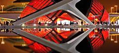 Valencia: L'Hemispheric by Santiago Calatrava (gerard eder) Tags: world travel reise viajes europa europe españa spain spanien valencia city ciudades cityscape cityview calatrava ciudaddelasartesyciencias cityofartsandsciences städte stadtlandschaft stadtderkünsteundwissenschaften santiagocalatrava panorama outdoor reflections spiegelung night noche nacht nikon imax