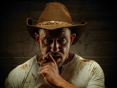Wanted Dead Or Alive (acahaya) Tags: cowboy cigar hat man realman dirt gritty strong