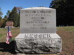 William A Messer (Steve Dow) Tags: elkins cemetery newlondon nh newhampshire civilwar american veteran grave gravestone williamamesser 11th regiment