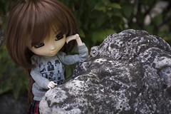 How u doin', Mister Stone Lion? (Erla Morgan) Tags: doll pullip pullipsouseiseki souseiseki souki erlamorgan groove junplanning wig obitsu chips light garden lion stone statue bordeaux