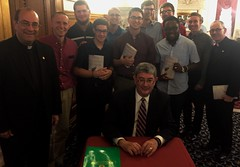 Seminarians with author George Weigel after his lecture at Gannon University - October 3, 2017
