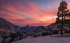 The Dome (swazileigh/ Langman Lightscapes) Tags: halfdome olmstedpoint yosemite yosemitenationalpark sunset mountains mountainstreeslake fallcolors rocks pinetrees viewpoint sky nationalpark california californianationalpark statepark hike nikond800 landscapephotography sunscape wideangle nikonphotography flickr swazileigh googleimages yahooimages light longexposure october fires langmanlightscapes