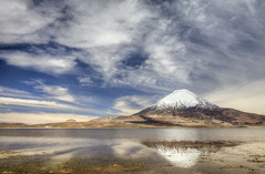 Parinacota (Joost10000) Tags: landscape landschaft sky clouds water lake lago parinacato vulcano bolivia chile andes altiplano highlands mountain reflection scenic beauty outdoors wild wilderness canon canon5d eos chungara lakeshore snow ice