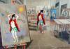 LA MUSA E IL DIPINTO (ADRIANO ART FOR PASSION) Tags: dipinto modella musa studio photoshop fotomontaggio mostra mostramirò ambientazione foto nikon creativo samsunggts6500 quadro impronte