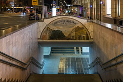 Entering the subway station. (Oleg.A) Tags: night russia nature pushkinskayasquare outdoor alexanderpushkin subway town sculpture oldtown autumn architecture square evening city station moscow gare outdoors москва moskva ru