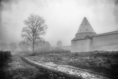 Старая дорога у монастыря (olegkulishov) Tags: bw пейзаж путешествия погода дороги монохром музей суздаль