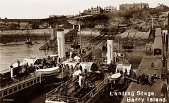 Barry Island (footstepsphotos) Tags: barry island landing stage ship paddle steamer steam transport funnel people glamorgan jetty pier sea wales old postcard vintage passenger historic past