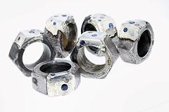 Nut Rings - Repair Series - 7 (the justified sinner) Tags: justifiedsinner jewellery jewelry foundobject silver iron steel rust corrosion industry industrial nut sapphire diamond corundum