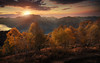 Cardada III (Chrisnaton) Tags: switzerland cardada ticino autumn autumncolors trees mountains alps sunset eveningmood eveningsky lagomaggiore viewpoint cimetta