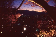 (✞bens▲n) Tags: pentax lx velvia 100 mamiya 50mm f2 film analogue slide longexposure dark landscape nightscape sakura cherry blossoms flowers mountains nagano japan takato japanese lanterns