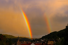 (tamaraschwenk) Tags: steeple sun rain rainbow