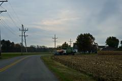 Loading Corn (ramseybuckeye) Tags: loading corn picking gravity wagons combine road rural farm farming john deere