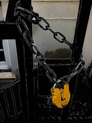 The Orange Padlock (Steve Taylor (Photography)) Tags: chain padlock art digital gate railing steps stairs black brown orange metal uk gb england greatbritain unitedkingdom london outline