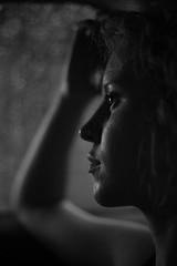 Rainy days (therealmarky) Tags: red portrait girl blonde window rain canon 5dmk3 blackandwhite 50mm moody skintone delicate