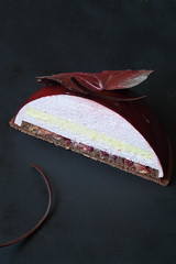 """""""Bordeaux"""" Entremet (Мiuda) Tags: cake cakes dome domecake pastry entremet patisserie patissier autumn chocolate plums plum mousse layered contemporary dark darkphoto stilllife delicious dessert sweet sugar food baking icecream gelatin canon foodphotography foodphoto foodblogger blogger blog foodblog grape leaf decoration maple leaves nature natural french frenchpastry modern moussecake bake baked bakery"""