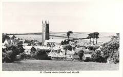 St Columb Minor Church and Village (Liz Pidgeon) Tags: postcard bw st columb minor church village