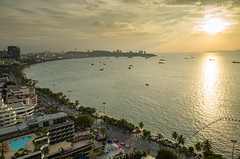 Sunet at Pattaya bay from top view, Thailand, Asia (MENGAZAA) Tags: nature summer sunset travel architecture asia background bay beach beautiful blue bluesky boat building city cloud coconut destinations hotel marina mountain ocean orange pattaya pattayabeach port relax resort sand scooter sea ship sky sun thai thailand tourism tropical vacation view wave