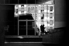 In front of buildings (pascalcolin1) Tags: paris13 femme woman immeubles buildings lumière light ombres shadows photoderue streetview urbanarte noiretblanc blackandwhite 50mm canon