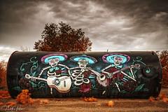 The Three Amigos (hnicpena) Tags: newmexico calavera mariachi mariachis graffiti graffitiart newmexicotrue clouds
