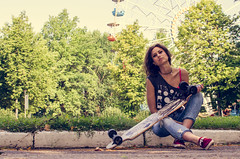 Anna Avtushenko (ivan_volchek) Tags: girl longboard bench summer park morning shine hairstyle street jeans sneakers shirt fighting leaves tree portrait arealongboard area figure shading toning curbs longboards longy zebbie road