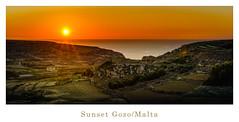 sunset scenery (K.H.Reichert [ not explored ]) Tags: landscape meer sonnenuntergang sea agriculture sun himmel countryside malta sky landschaft gozo feld felsen coast rocks sunset