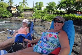 Mom and Betty getting some sun at Honaunau Beach Park