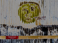 A Corrugated Tone (Steve Taylor (Photography)) Tags: tone reserved enforced 247 barrier digital art graffiti streetart tag black green brown red iron paint metal newzealand nz southisland face head canterbury christchurch cbd city corrugated